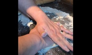 Making salt dough handprints with Jacqui